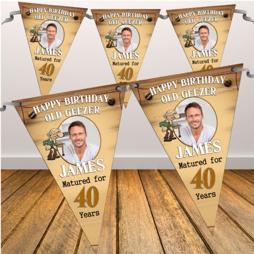Personalised Happy Birthday Flag PHOTO Banner - Old Geezer N27